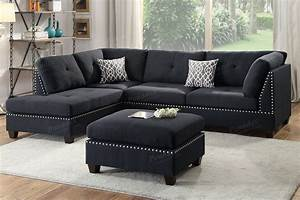 Black fabric sectional sofa and ottoman steal a sofa for Black sectional sofa