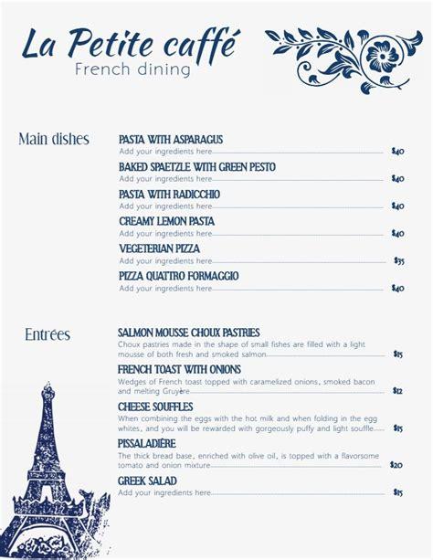 modern minimalist french cafe menu template  background