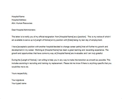 nurses resignation letter samples