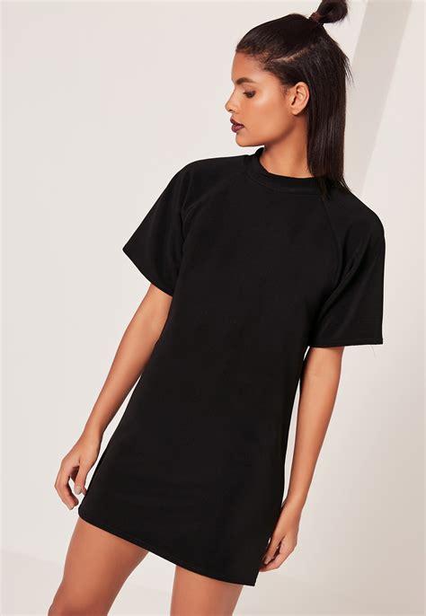 t shirt dresses missguided sleeve oversized t shirt dress black in