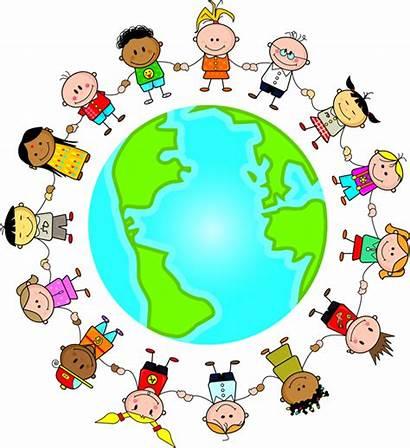 Children Around God Singing Song Fun Globe