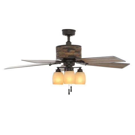 outdoor ceiling fan light kit hton bay glacier bay 52 in indoor outdoor rustic