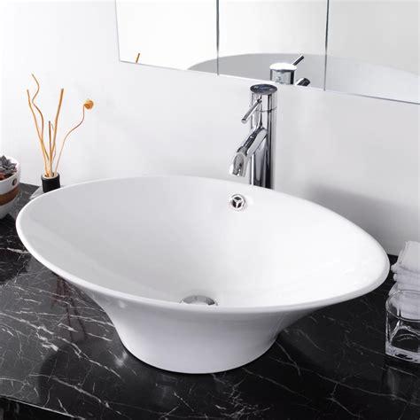 Bathroom Ceramic Porcelain Vessel Sink Woverflow White