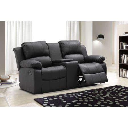 Leather Reclining Loveseat With Center Console by Ufe Zoey Bonded Leather Reclining Loveseat With Center