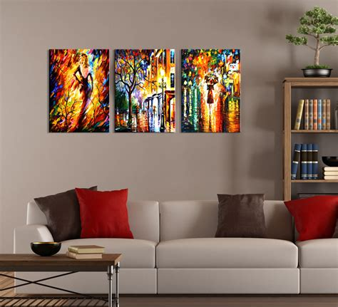 Modern Abstract Night City Painting 3 Piece Wall Art