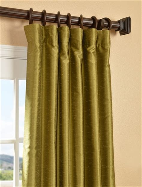 buy chartreuse yarn dyed faux dupioni silk curtains