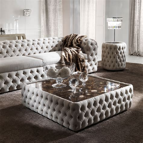 Leather Upholstered Coffee Table by Modern Button Upholstered Nubuck Leather Square Coffee Table