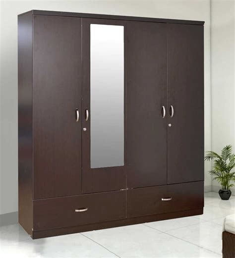 Wood Wardrobe With Mirror by Single Door Slim Almirah In Sheesham Wood By Mudramark