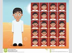 Arab Kid Boy Cartoon Emotion Faces Vector Illustration