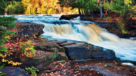 Waterfall Autumn Trees Forest Rock Desktop Wallpaper Hd 4672x2920