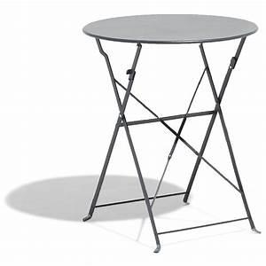 Table De Camping Gifi : table de jardin ronde pliante 2 personnes m tal gris ~ Melissatoandfro.com Idées de Décoration