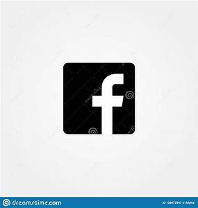 Stock Vector Facebook Icon With Black Color Flat Editorial ...