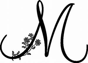 Floral Illustrated Letter M : Decals and Stickers, The