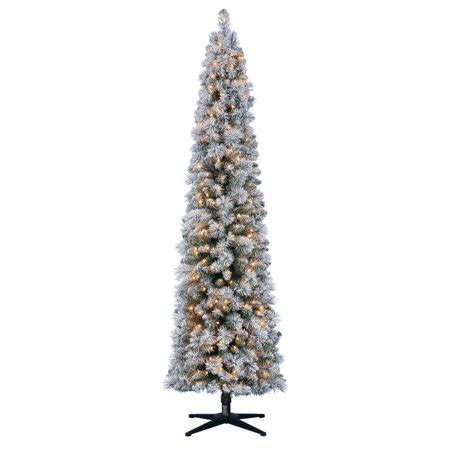 pencil trees christmas by ashland time 7ft pre lit flocked pencil colorado artificial tree with 250 clear lights