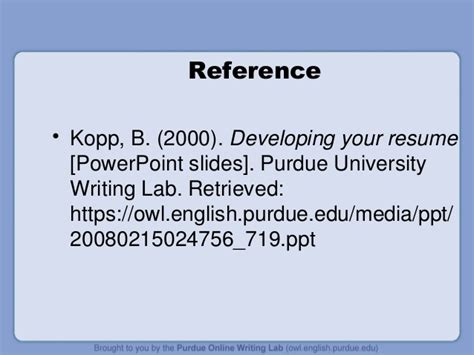 Purdue Owl Resume Powerpoint by Developing A Resume By Purdue Writing Lab