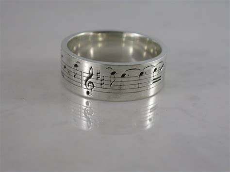music note ring sterling silver bronze stainless steel