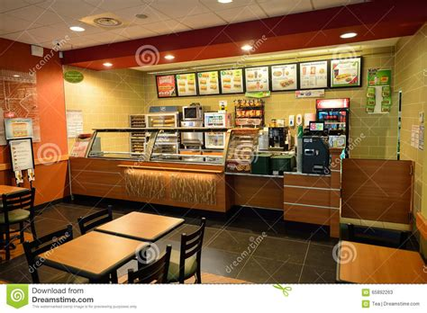 subway fast food restaurant interior editorial stock photo