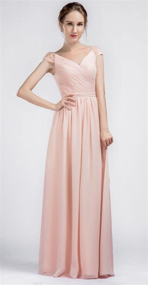 Amazing Long V-neck Chiffon Pink Bridesmaid Dresses with ...
