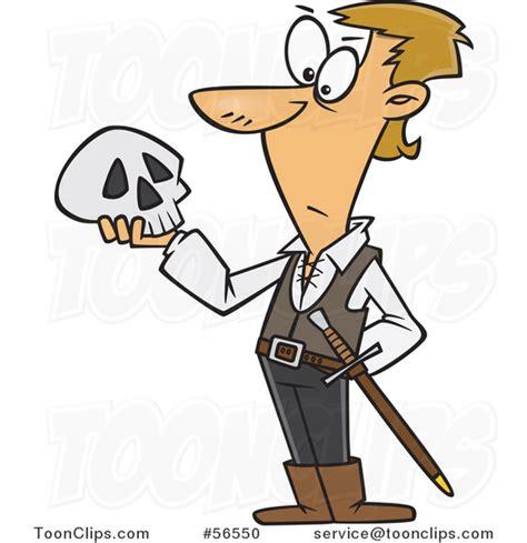 Cartoon Guy, Hamlet, Holding a Skull #56550 by Ron Leishman