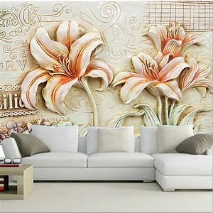 The custom 3D murals,Beautiful retro lily flower wallpaper ...