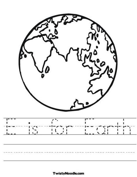 e is for earth worksheet from twistynoodle taking