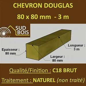 Poteau Bois Rond 3m : chevron poteau 80x80mm douglas naturel brut 3m sud ~ Voncanada.com Idées de Décoration