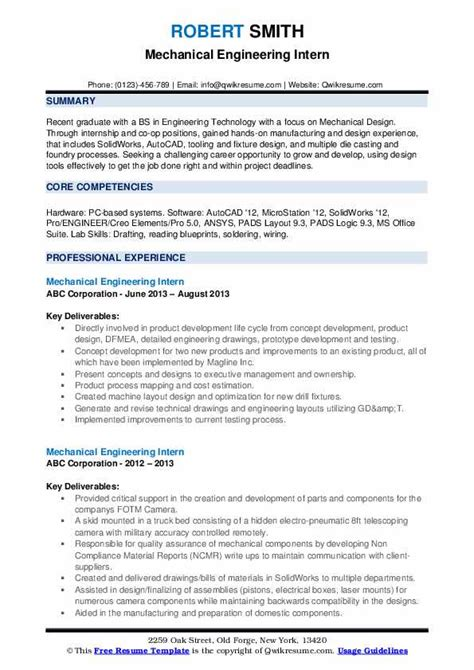 Our mechanical engineering resume sample and expert tips will give you an edge over the competition. Mechanical Engineering Intern Resume Samples | QwikResume