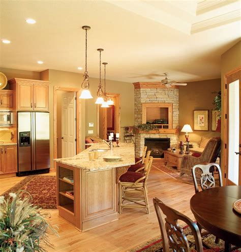 Kitchen Floor Plans With Hearth Room by Cozy Hearth Room Right The Kitchen This