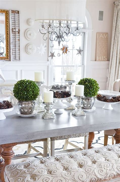winter white dining room centerpiece winter dining