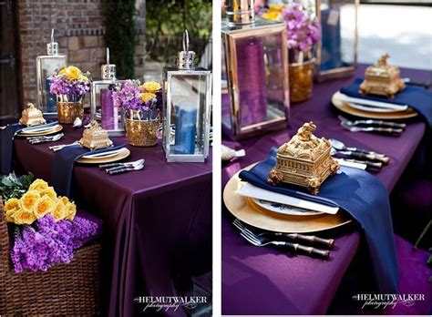 Navy Eggplant And Gold Wedding
