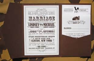 themed wedding invitations brown farm themed vintage poster style pocketfold wedding invitations emdotzee designs