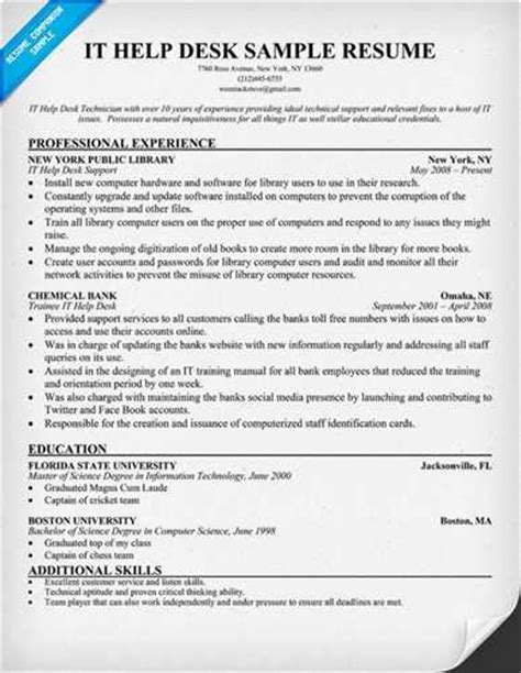 It Support Resumes by A Sle It Help Desk Resume For Everyone