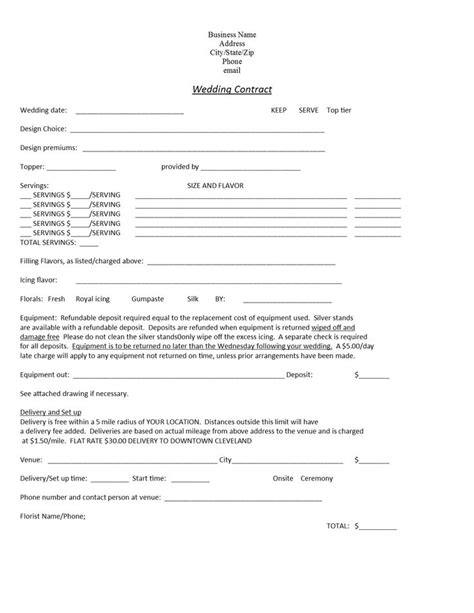 blank wedding cake contractwork order page  templates