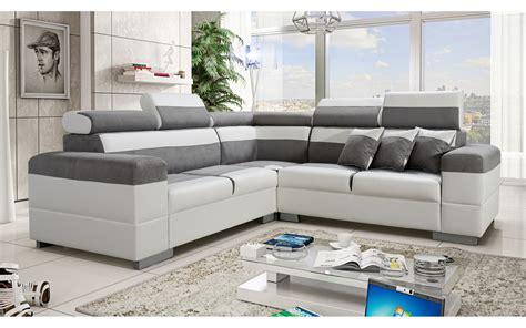 canape d angle blanc et gris canapé d 39 angle colorado gris et blanc avec têtières