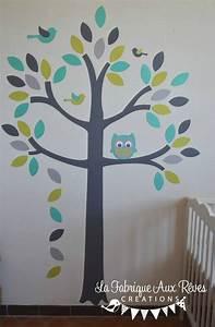 Stickers Arbre Chambre Bébé : stickers arbre turquoise vert anisle gris hibou oiseaux ~ Melissatoandfro.com Idées de Décoration