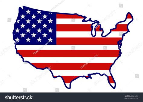United States Flag Shape Usa Map Stock Illustration