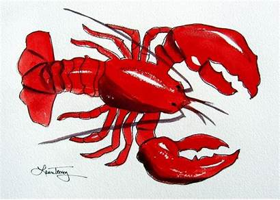 Lobster Clipart Watercolor Prints Maine Clip Lobsters