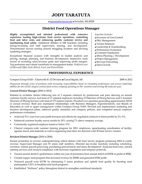 Restaurant Resume Templates by District Manager Resume District Food Operations Manager