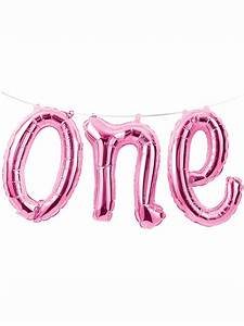first birthday 39one39 foil balloon banner 12quot pink With light pink letter balloons
