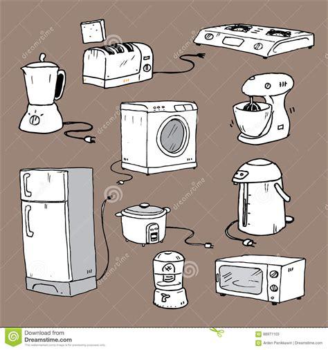 kitchen appliances cartoon stock vector illustration