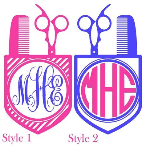 pocket scissors comb monogram vinyl decal custom sticker hairdresser yeti cup car