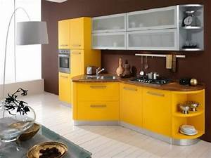 Beautiful yellow and brown kitchen interior designs for Kitchen colors with white cabinets with nyc skyline wall art