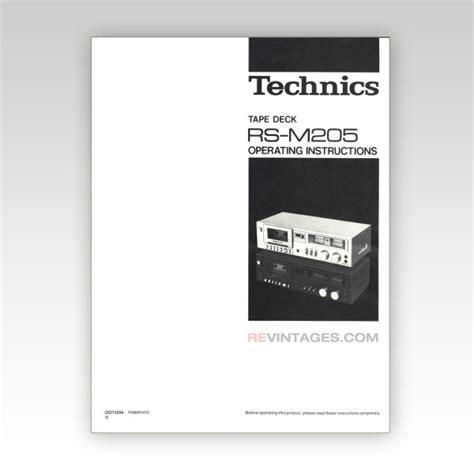 Technics Rsm205 Tape Deck Manual (english) Revintages