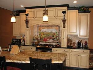 tuscan kitchens black crown moldings and cabinets on With kitchen colors with white cabinets with italian wall art kitchen