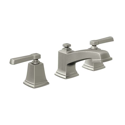 shop moen boardwalk spot resist brushed nickel  handle widespread watersense bathroom faucet