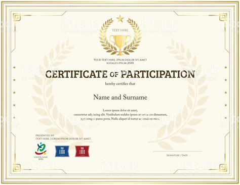 Certificate Of Participation Template Certificate Of Participation Template In Gold Theme With