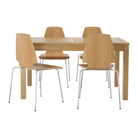 Ikea Vilmar Chair Frame by Vilmar Bjursta Table And 4 Chairs Oak Veneer Chrome Plated