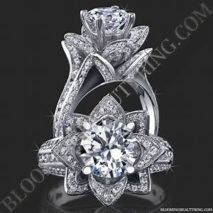 178 ctw original large blooming beauty flower ring With rose diamond wedding ring