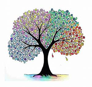 Abstract hand drawing of a four seasons tree | Stock Photo ...