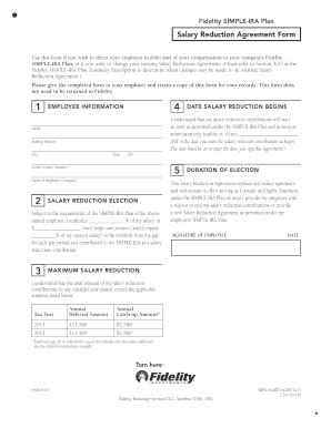 fidelity simple ira forms fillable online fidelity salary reduction